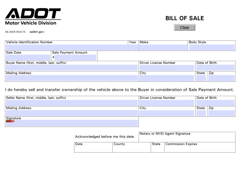 free arizona motor vehicle  dmv  bill of sale form