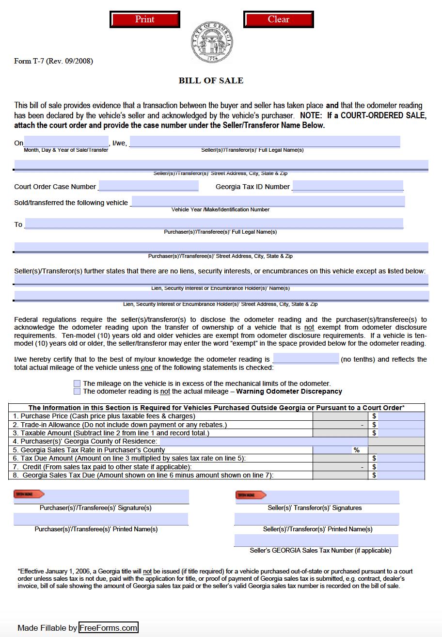 Free Georgia Motor Vehicle Dmv Bill Of Sale Form Pdf