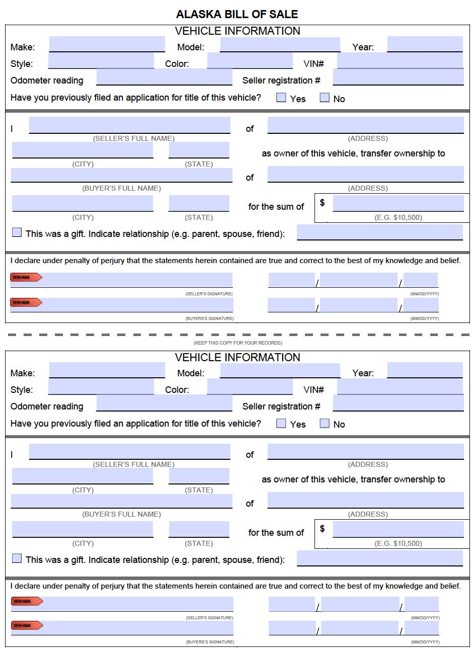 Motor Vehicle Bill Of Sale >> Free Alaska Bill of Sale Forms | PDF