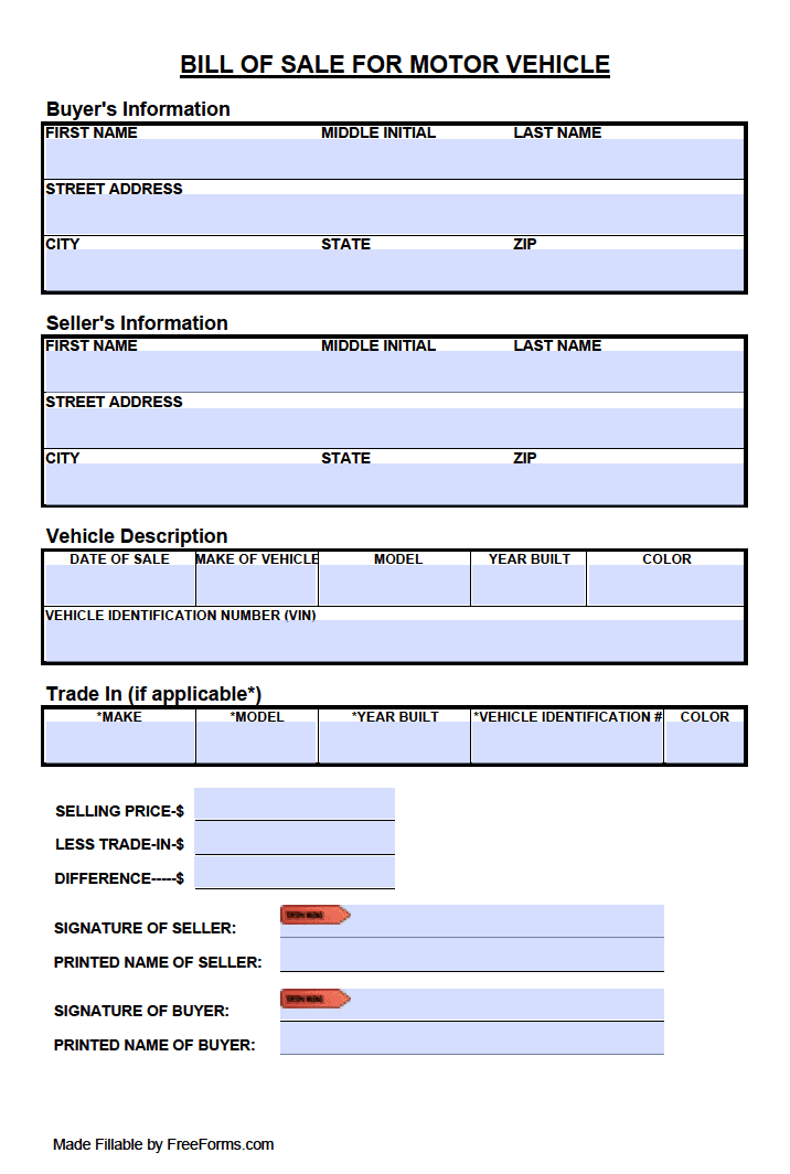 free tennessee motor vehicle  dmv  bill of sale form