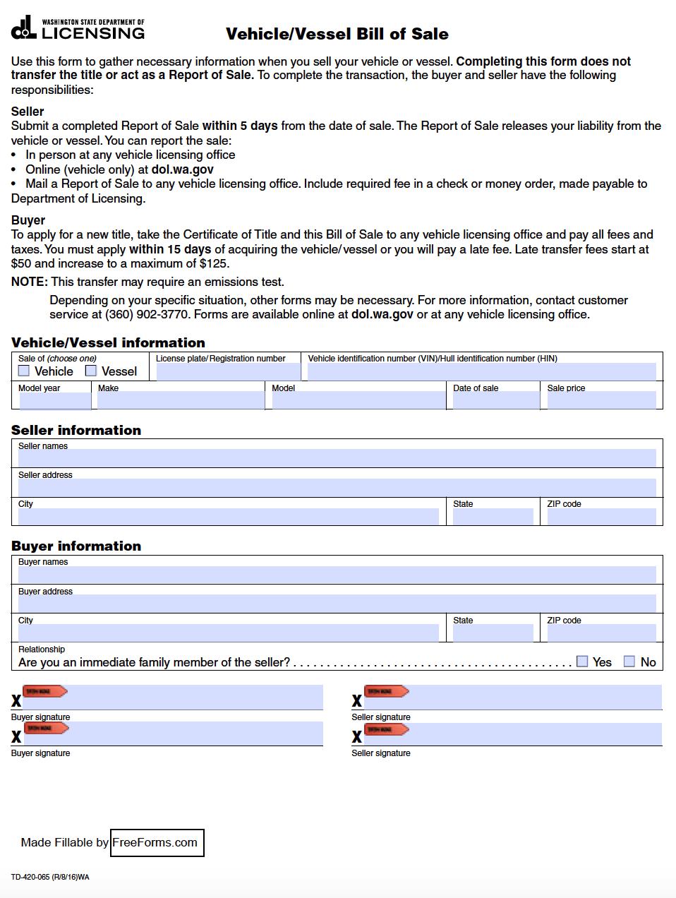 Washington State Bill Of Sale >> Free Washington Motor Vehicle / Vessel Bill of Sale Form | PDF