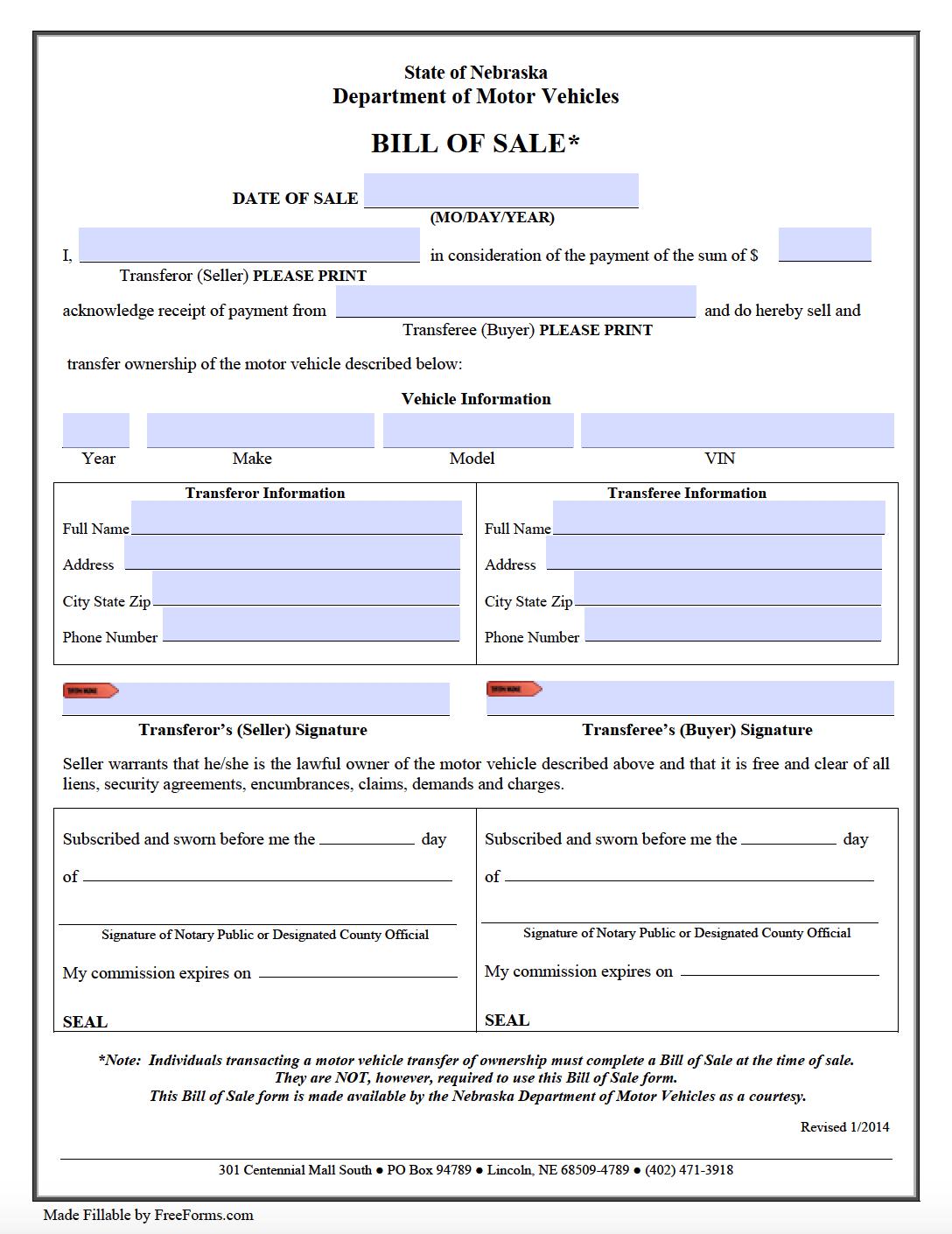 Free Nebraska Motor Vehicle Dmv Bill Of Sale Form Pdf