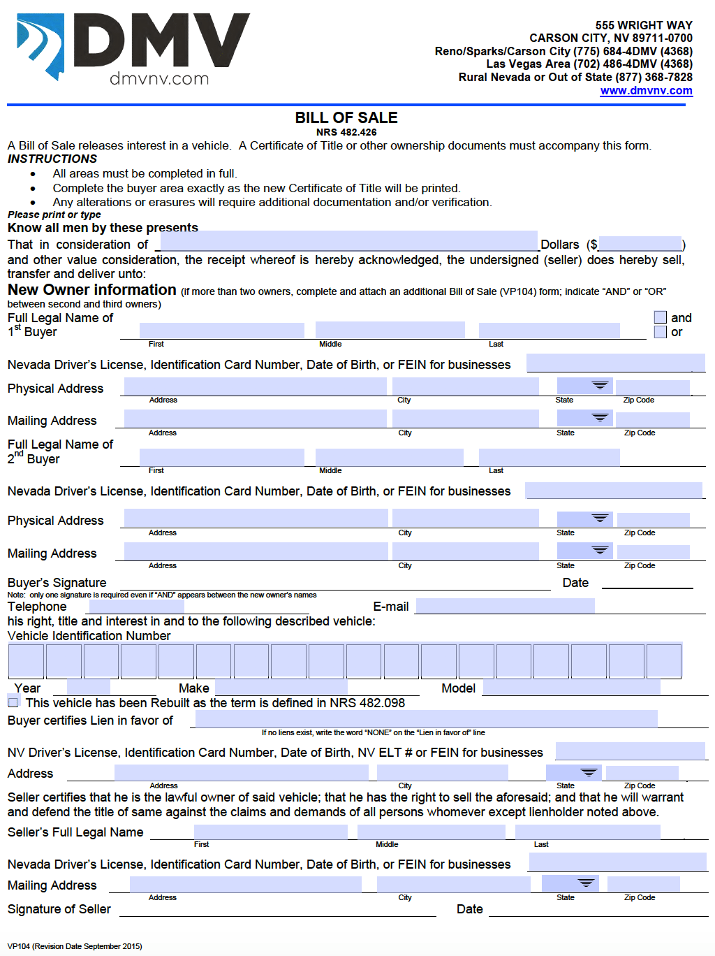 Free Nevada Bill Of Sale Forms Pdf