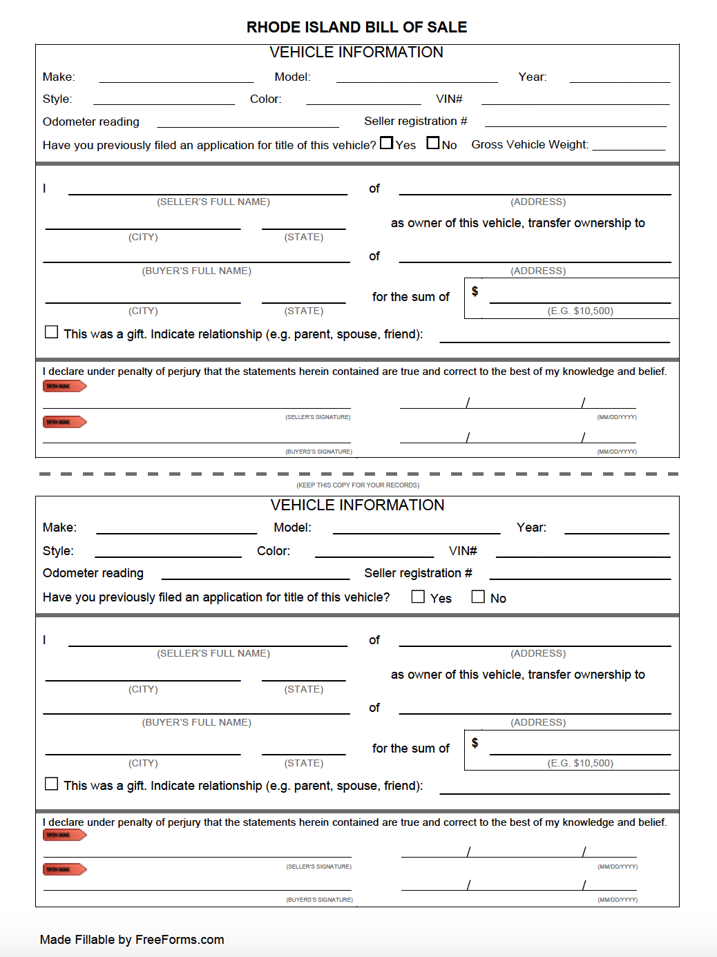 free rhode island  dmv  bill of sale form for motor