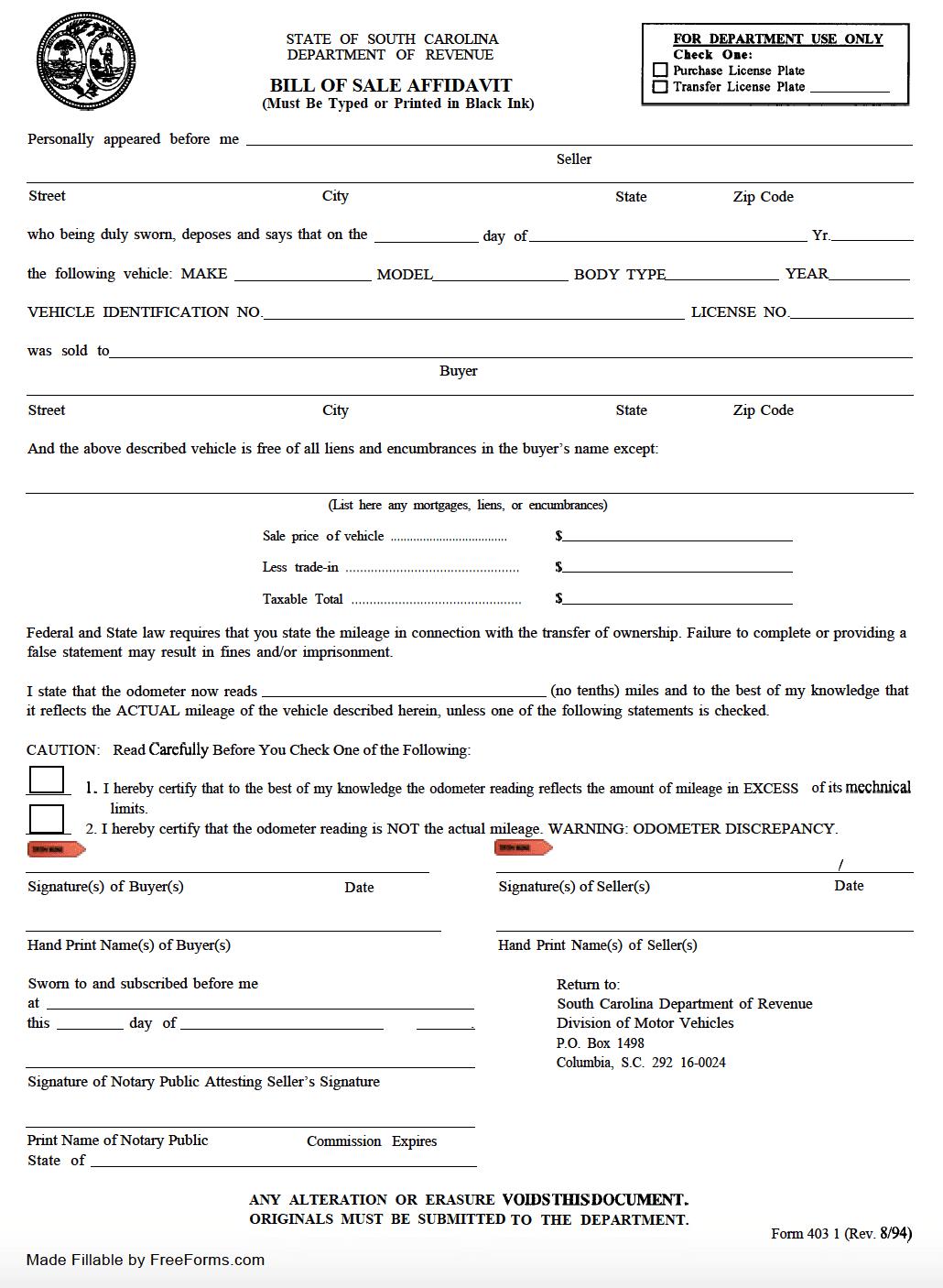 Free South Carolina Motor Vehicle Dmv Bill Of Sale Form Pdf