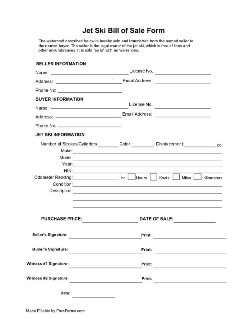 Free Bill Of Sale Template >> Free Jet Ski Bill of Sale Form | PDF