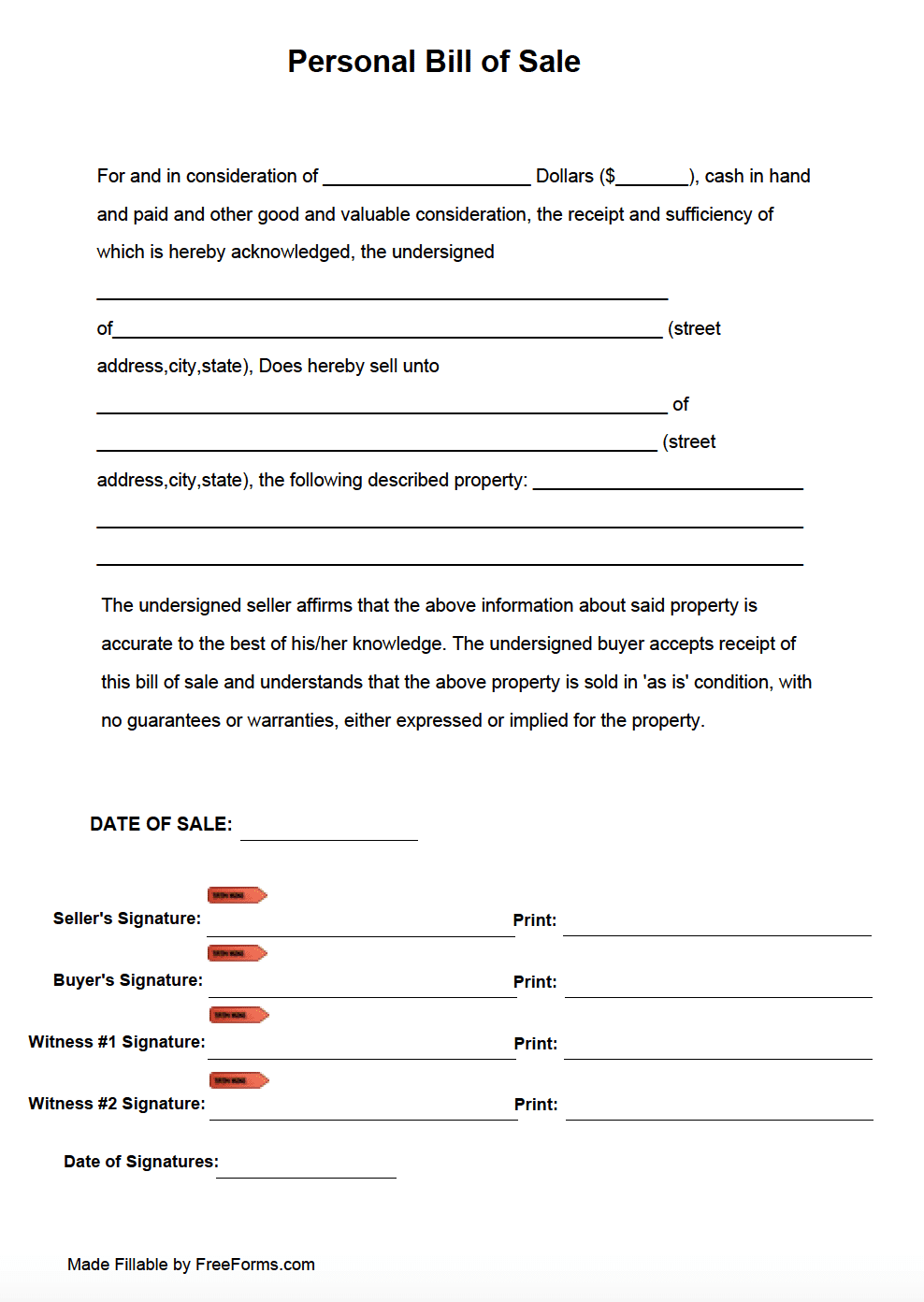Free Personal Bill Of Sale Form Pdf
