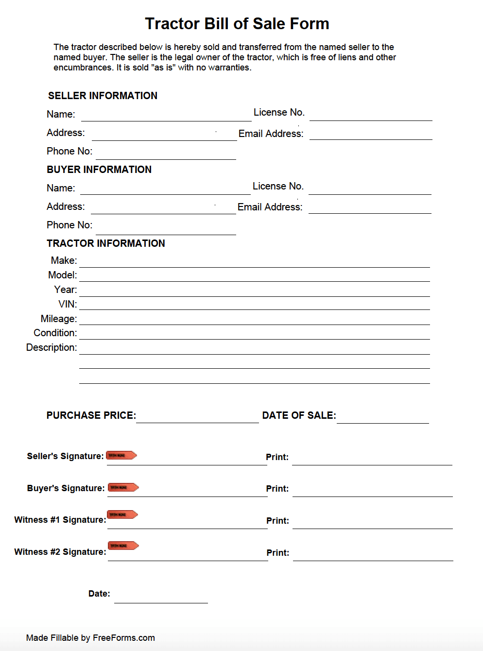 Free Tractor Bill of Sale Form | PDF