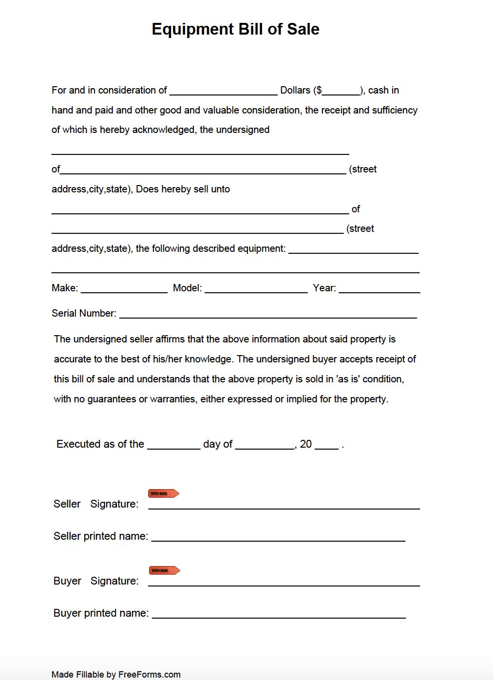 Free Equipment Bill of Sale Form   PDF