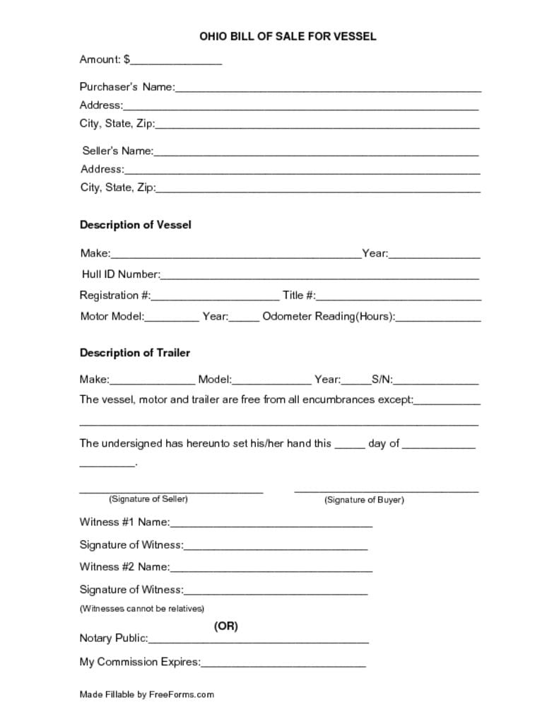 thumbnail of Ohio Boat Bill of Sale Form