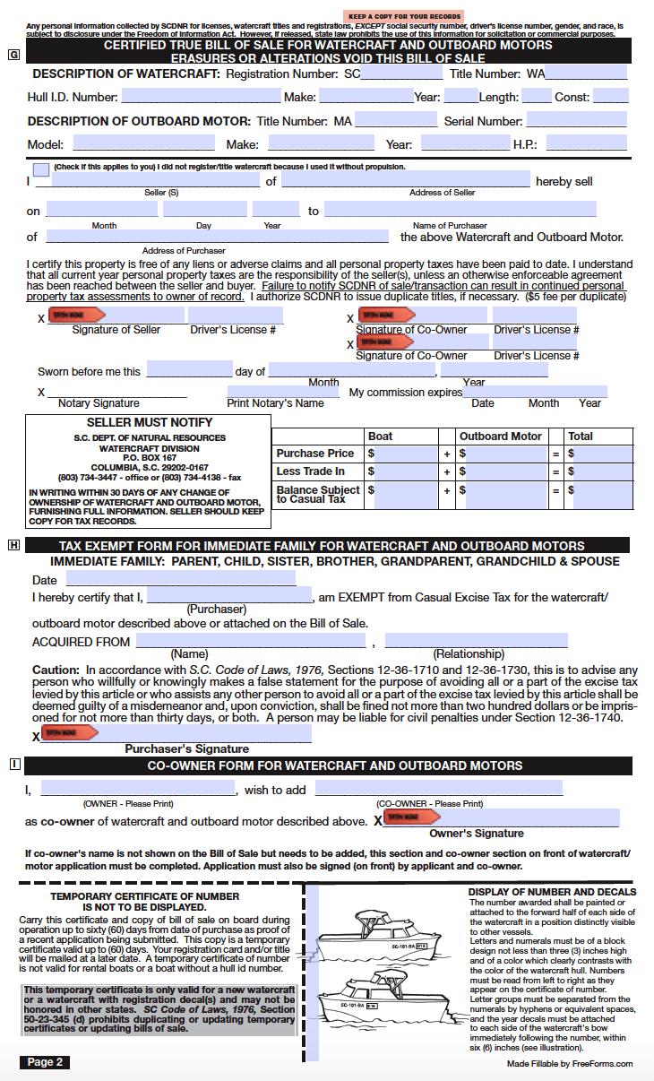 Sc Bill Of Sale >> Free South Carolina Bill Of Sale Forms Pdf