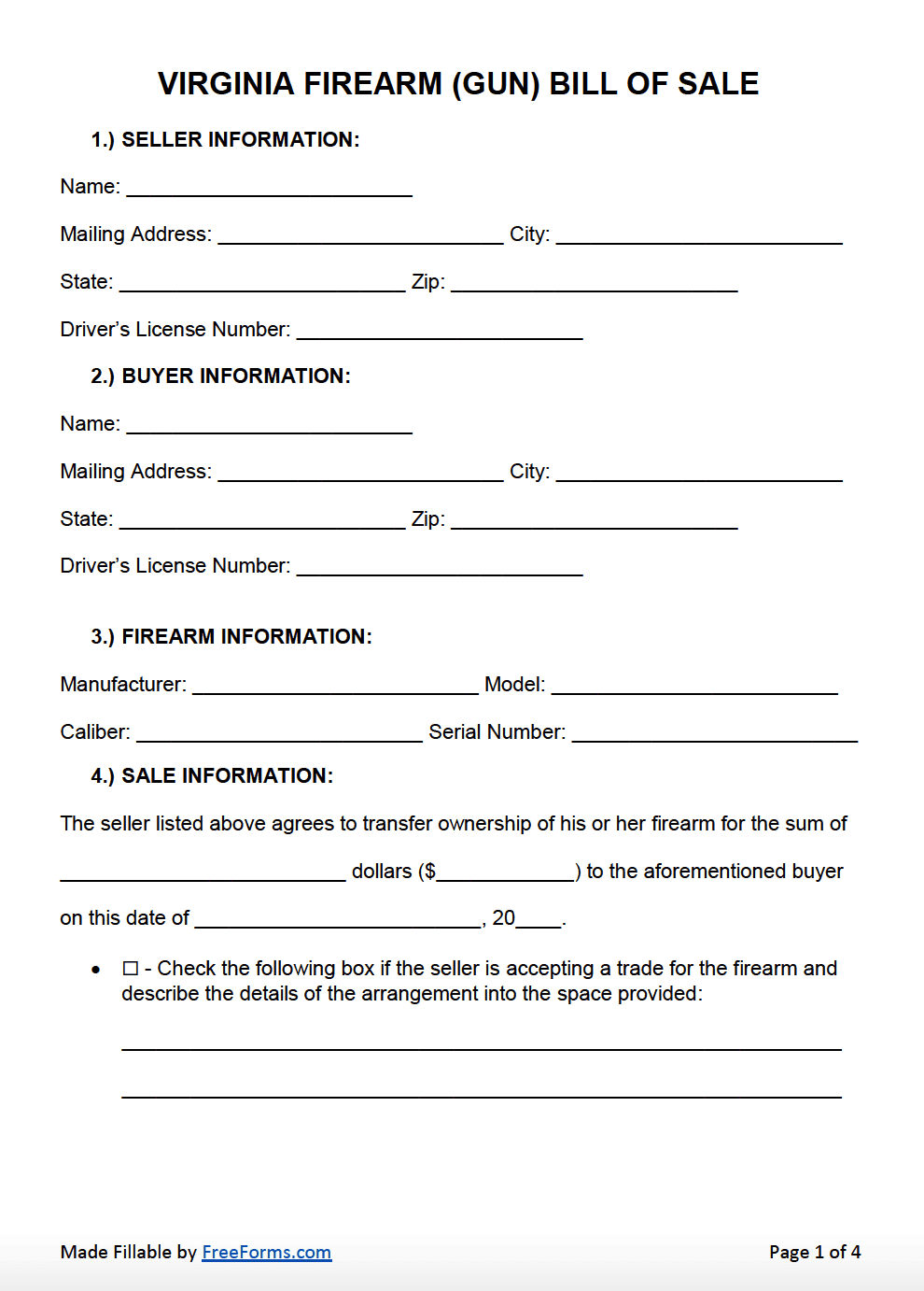 Bill Of Sale Virginia >> Free Virginia Firearm Gun Bill Of Sale Form Pdf Word