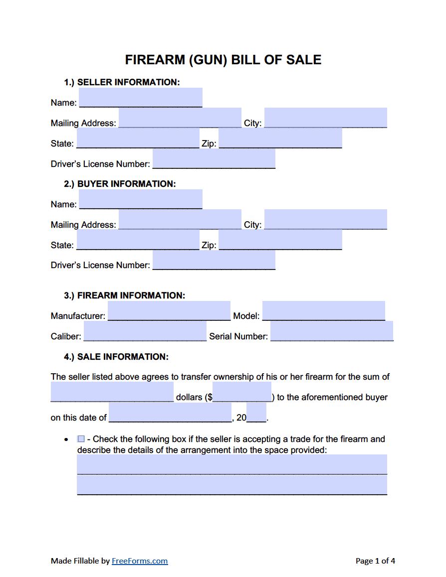 free firearm  gun  bill of sale form