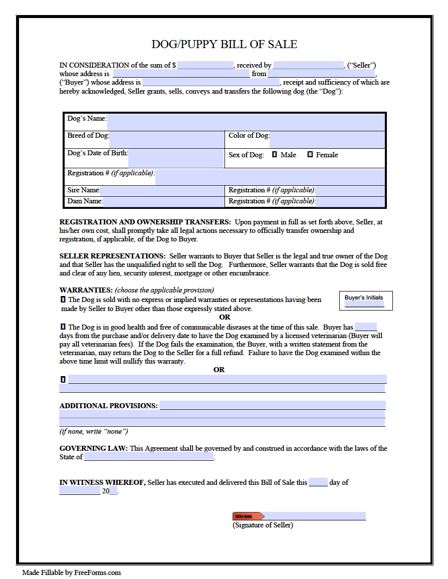 Free Dog Puppy Bill Of Sale Form Pdf