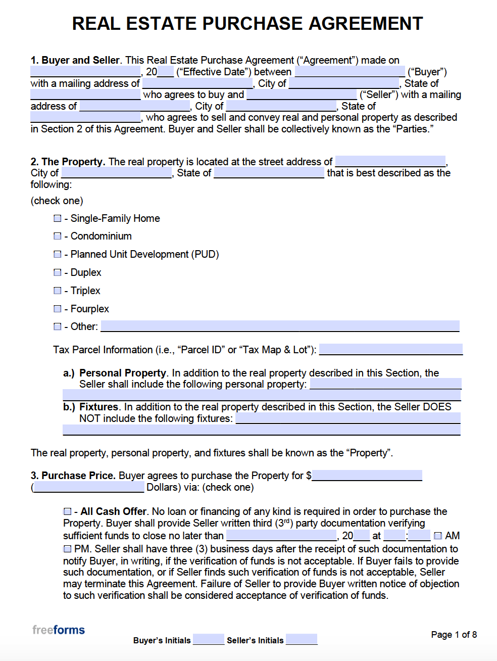Free Real Estate Purchase Agreements   PDF   WORD