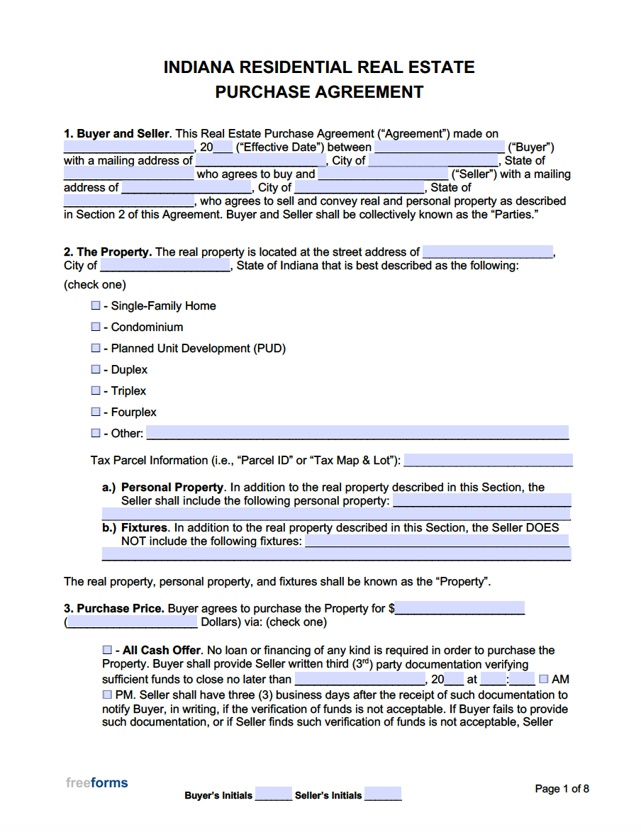 free indiana real estate purchase agreement template