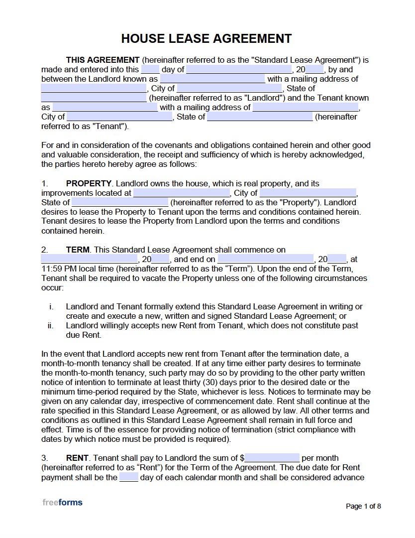 Free House Lease Agreement Template Pdf Word
