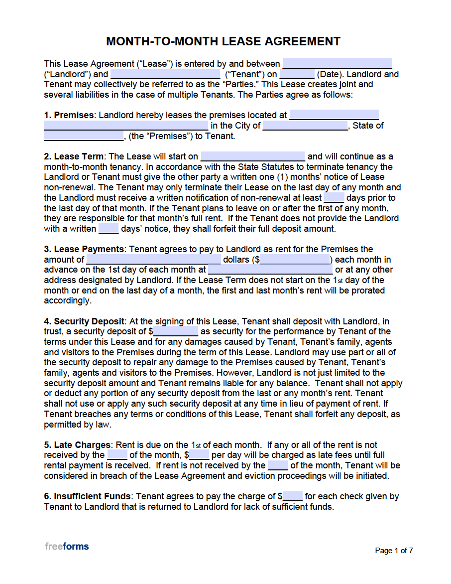 Sample Lease Agreement Letter from freeforms.com