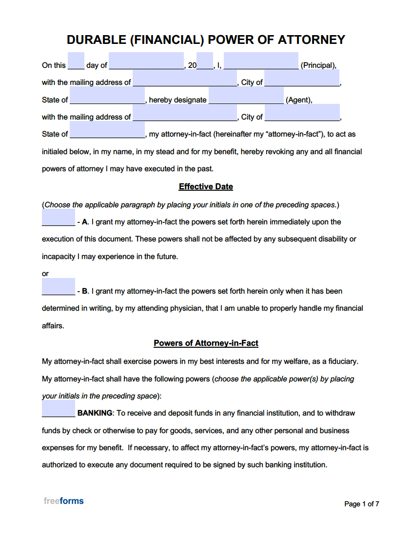 Free Power of Attorney Forms   PDF   WORD