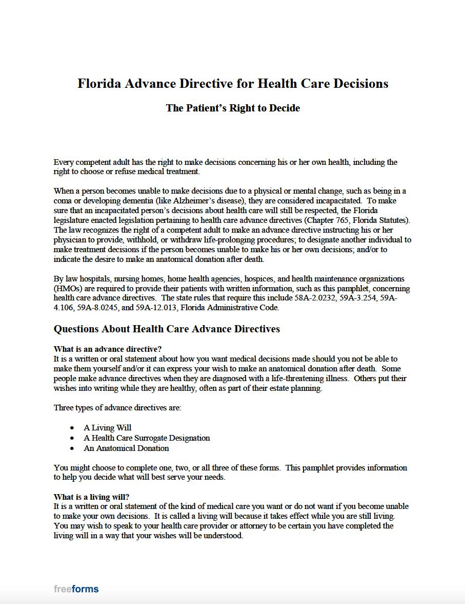 Free Florida Advance Directive Form Medical Poa Living Will Pdf