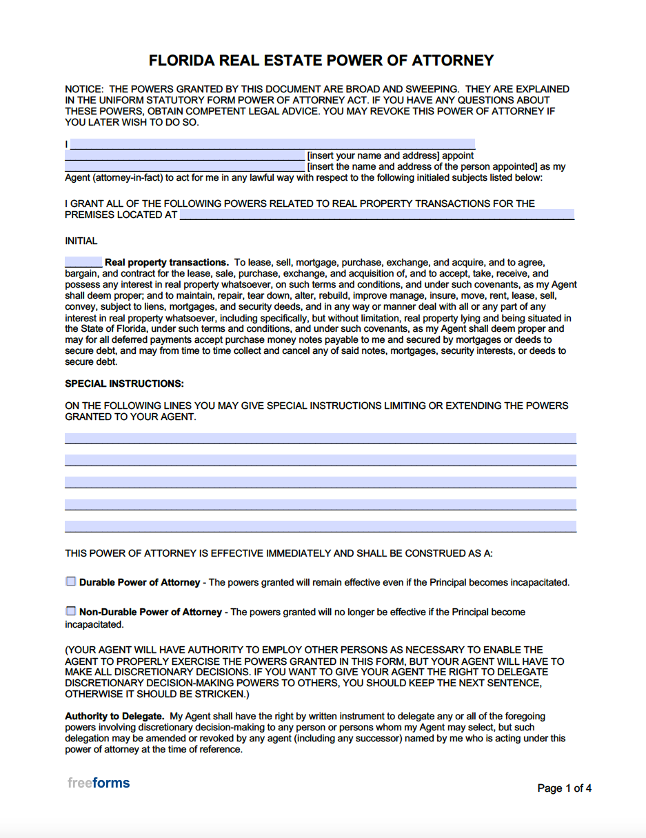 Free Florida Real Estate Power Of Attorney Form Pdf Word